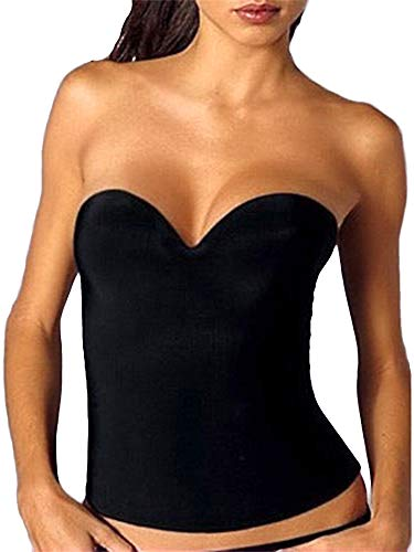 32 to 40 Strapless Bridal Seamless Low Back Bustier Corset Push Up Longline Bra (38C, Black) ()