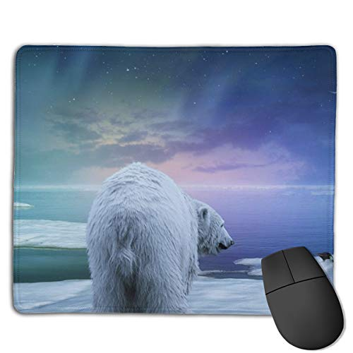 Mouse Pad Northern Lights Polar Bears and Penguins Silk Surface Stitched Edge for Home Office
