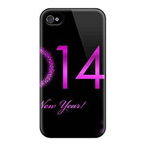 Hot Tpu Cover Case For Iphone/ 4/4s Case Cover Skin - Purple New Year 2014