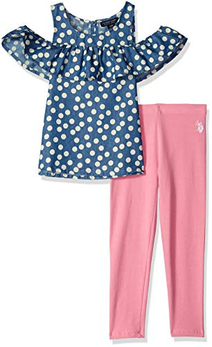 U.S. Polo Assn. Girls' Toddler Fashion Top and Legging Set, Ruffle Yoke Cold Shoulder Dots Aurora Pink, -
