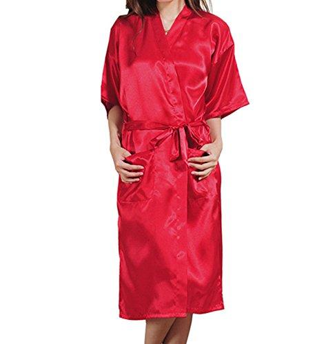 Easyhon Women's Pure color long Kimono Satin Robe Sleepwear (XX-Large, Cabernet Mist)