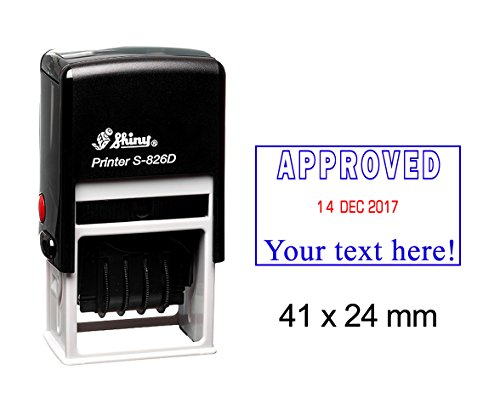 - Self Inking Shiny Date Stamp With Approved & Text Ofiice Stationery Rubber Stamper S-826D
