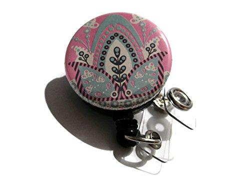 Pull Petal (ATLanyards Leaves and Petals Pink Bohemian Badge Holder, Boho Id Badge Pull Swivel Clip, 467)