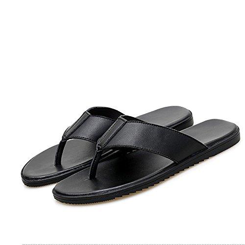 2 Al Respirables Negro Flops Aire Los Cuero Hombres tamaño 3 Wangcui 38 Negro Libre Zapatillas Flip Ocio Jóvenes Negro Color De EU 70wYU