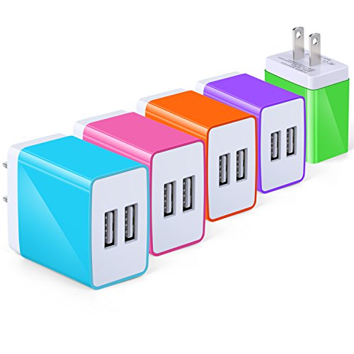 (USB Wall Charger with USB Port, Eversame 3.1A USB Charger Compatible iPhone X/ 8/7/6s/Plus, iPad Pro/Air 2/Mini/iPod, Galaxy S4/S5/Note 4, LG, Nexus (Pack-5, Blue Hot Pink Orange Purple Green))