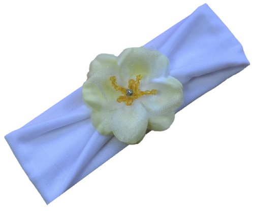 Funny Girl Designs Baby Girls Madeline Flower Headband By Fits Newborn to 12 Months (White Band with Yellow Flower)