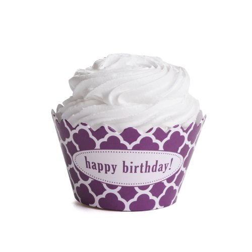 Dress My Cupcake Personalized Message Cupcake Wrappers, Spanish Tile, Quatrefoil, Happy Birthday, Plum Purple, Set of 50 (Spanish Tile Cupcake Wrapper)
