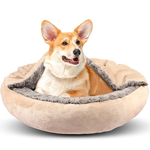 GASUR Cozy Cuddler Small Dog and Cat Bed, Round Donut Calming Anti-Anxiety Cave Hooded Blanket Pet Bed, Luxury Orthopedic Cushion Beds for Indoor Kitty or Puppy, Warmth and Machine Washable 26 inch