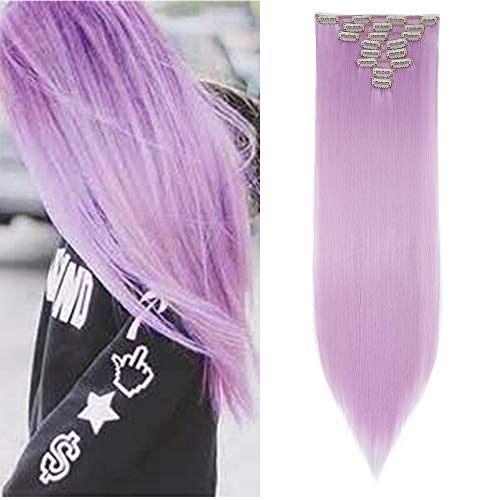 Light Purple Hair Extensions (8PCS/SET Full Head Clip in Hair Extensions 100% Real Natural Human Made Hight Quality Synthetic Hair 145G Thick 17-26