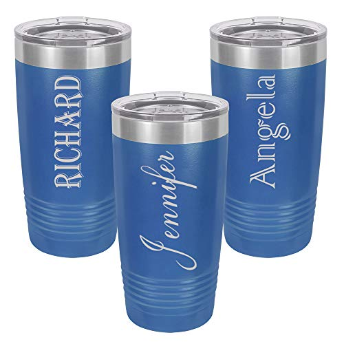 Personalized Tumbler 20 oz. with clear Lid | Different Designs | Engraved Travel Cups | Double-Wall Vacuum Insulated | Unique Gift for Him and Her (Blue)