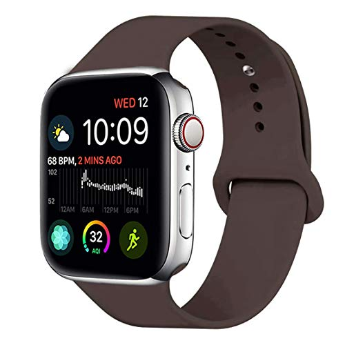 VIpBin Compatible WithBand 38mm 40mm 42mm 44mm Soft Silicone Sport Replacement Strap Bracelet for Watch All Models Series 4 Series 3 Series 2 Series 1 Sport, Edition (Cocoa, 38mm(40mm) - 38 Cocoa