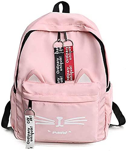 Daarlinn Girl's Cute Cat Nylon Waterproof School Bags  Pink