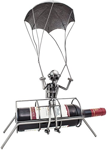 (BRUBAKER Wine Bottle Holder Parachuter - Skydiver Metal Sculptures and Figurines Decor Wine Racks and Stands Gifts Decoration)