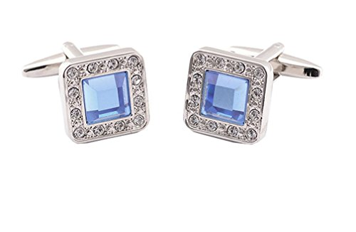 Fashion2Beauty Super Shiny Blue Crystal Cufflinks Elegant Style Business Party Used
