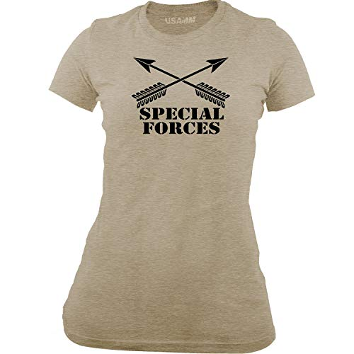 - USAMM Women's Army Special Forces Branch Insignia T-Shirt (Medium, Heather Latte/Black)