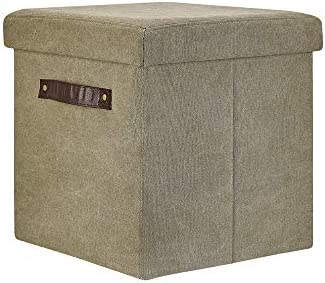 Song Han 15 Ottoman with Handle Cotton Canvas Green