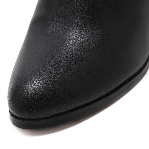 AgooLar Damen Niedrig-Spitze Reißverschluss Weiches Material Hoher Absatz Rund Zehe Stiefel Schwarz
