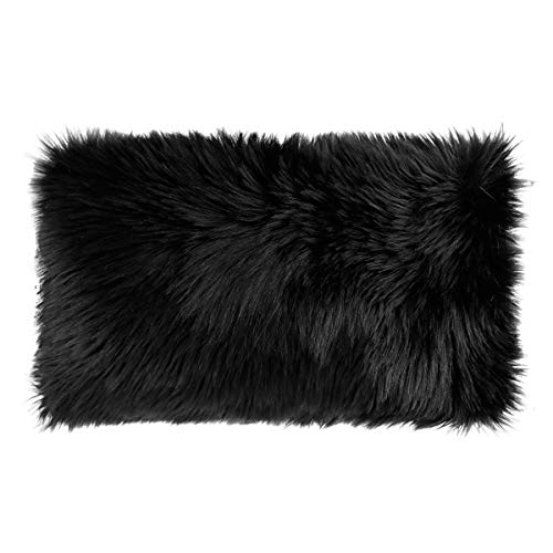 Ojia Faux Fur Throw Pillow Cover Cushion Case Super Soft Plush Accent Pillows Case Decorative New Luxury Series Style (12 x 20 Inch, Thick Black)