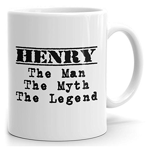 MugMax The Man the Myth the Legend D1 Ceramic Coffee Mug Personlized Henry White 15 oz