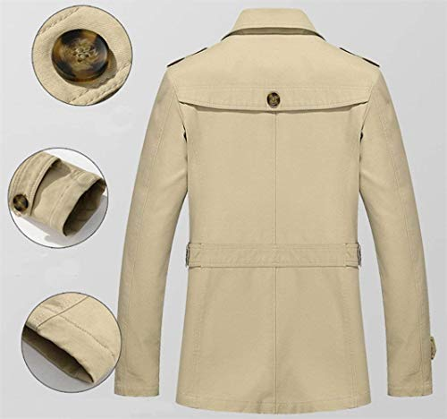 Lapel Huixin Stand Long Coat Coats Windbreaker Apparel Outerwear Jacket Collar Jackets Lightkhaki Button Sleeve Men's Coat Trench w15r8wq