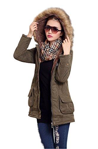 Manteau rembourrage Epais femme Veste avec Parka synth pour long Hiver gq5nx4B
