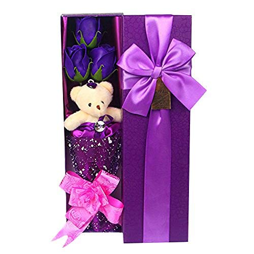 Abbie Home Flower Bouquet 3 Scented Soap Roses Gift Box with Cute Teddy Bear Birthday Mothers Day Valentines Present-Purple