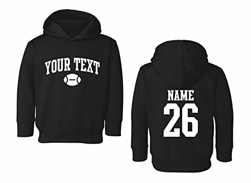 - Toddler Hooded Sweatshirt Custom Personalized, Football Arched Text, Back Name & Number Black