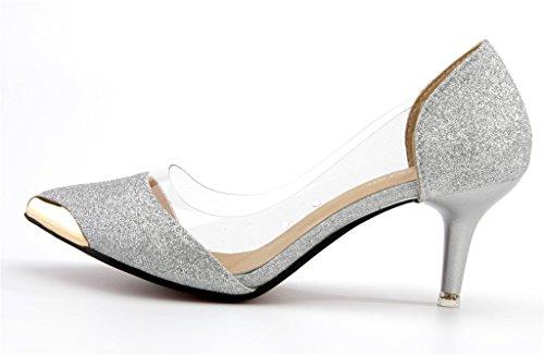 AgeeMi con Punta A argento Scarpe EuD13 Tacco Bowknot Trasparente Scarpe con Shoes col TqIwUrT1