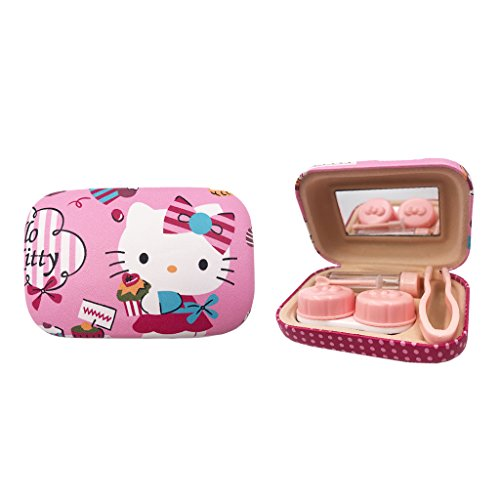 Hello Kitty Mini Contact Lens Case Travel Kit with Solution Bottle,Tweezers and Mirror