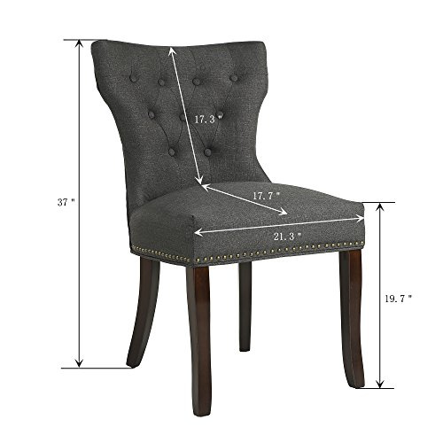 LSSBOUGHT Set of 2 Fabric Dining Chairs Leisure Padded Chairs with Brown Solid Wooden Legs,Nailed Trim,Charcoal