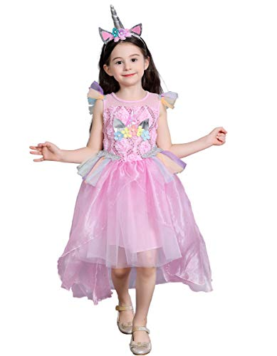 Dressy Daisy Girls Unicorn Dress Up Costume w/Hair Hoop Princess Ariel Dresses w/Train Halloween Party Dress Size 4T / 5T -