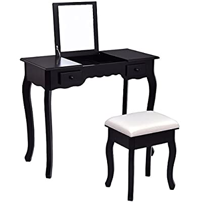 Giantex Vanity Set Dressing Table with Flip Top Mirror Cushioned Stool Bedroom Furniture Table Desk Set
