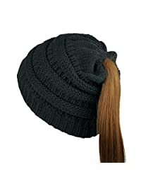 Free Bird 99 Women Tail Stretch Cable Knit Messy High Bun Ponytail Beanie Hat