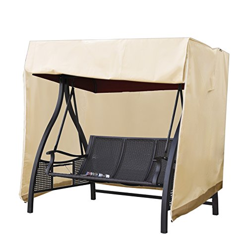 All Weather Canopy - APARESSE Outdoor 3 Triple Seater Hammock Swing Glider Canopy Cover Beige, All Weather Protection, Water Resistant, 88