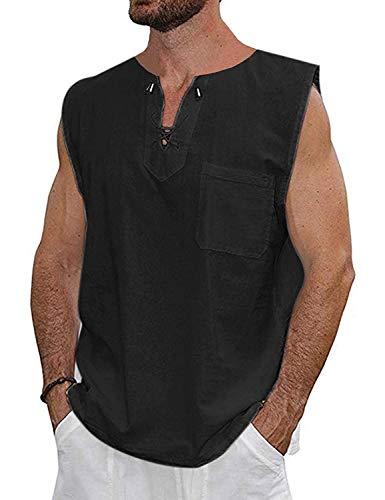 - Mens Renaissance Pirate T Shirts Viking Medieval Sleeveless Lace Up Costume Scottish Cotton Tank Top