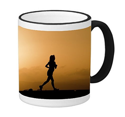 Runner Running Girl Silhouette Sunrise Sunset 11 ounce Black Rim/Handle Ringer Ceramic Coffee Mug Tea Cup by Moonlight Printing