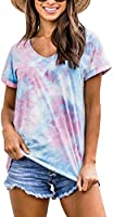 BRUBOBO Womens Summer V Neck T Shirts Cute Short Sleeve Tie Dye Casual Tops Tees