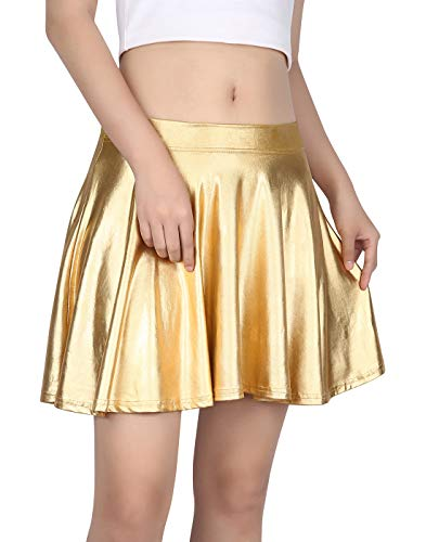 HDE Women's Shiny Liquid Metallic Wet Look Flared Pleated Skater Skirt (Gold, Small) -