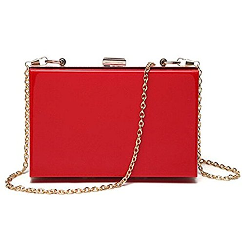 Shoulder Clutch Handbag Acrylic Women Red Body Purse Evening Bag Cross Marchome XtxIg1