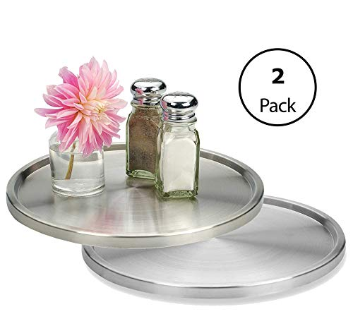 1 Tier Lazy Susan 2 Pack: Stainless Steel 360 Degree Turntable - Rotating 2-Level Tabletop Stand For Your Dining Table, Kitchen Counters And Cabinets - Turning Table Spice Rack Organizer Tray - 2 Pack (Lazy What Is Susan)