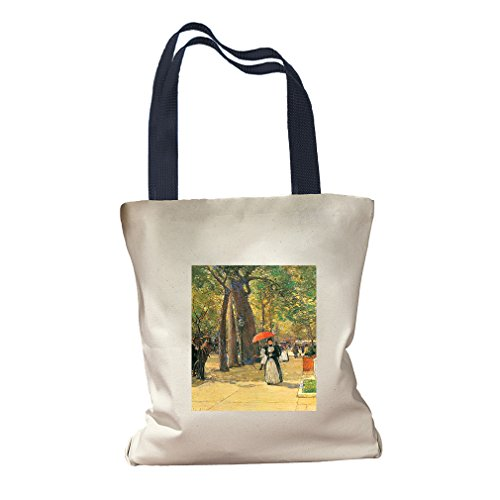 Died 5Th Ave Washington Square (Hassam) Canvas Colored Handles Tote - - Shopping Square Washington Center