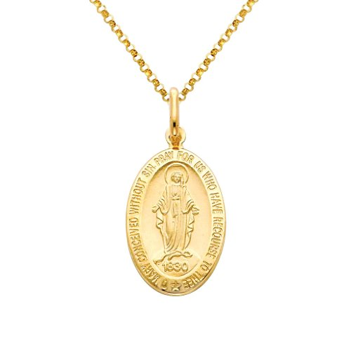 Wellingsale 14k Yellow Gold Polished Religious Miraculous Mary Medal Charm Pendant with 1.2mm Classic Cable Chain Necklace - 18'' by Wellingsale®