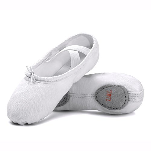 STELLE Clearance Canvas Girls Ballet Shoes Slippers for Kids (1ML, White) for $<!--$9.99-->