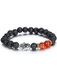 Flongo Men's Tribal 8mm Alloy Lava Rock Buddha Hand Prayer Mala Beads Link Bracelet, 8.6 inch