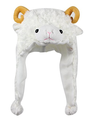 Bioterti Plush Fun Animal Hats -One Size Cap - 100% Polyester with Fleece Lining (White Sheep)]()