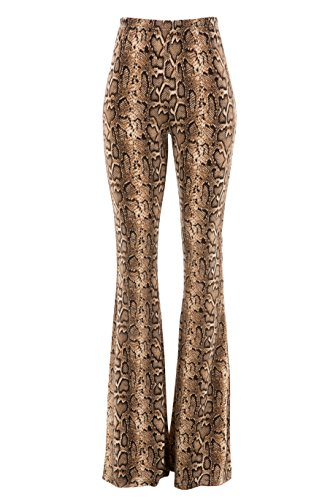 Fashionomics Womens Boho Comfy Stretchy Bell Bottom Flare Pants (S, Snake) (Snake Bell)
