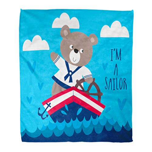 Golee Throw Blanket Blue Adorable Sailor Teddy Bear Adventure Ahoy Anchor Animal Boat 50x60 Inches Warm Fuzzy Soft Blanket for Bed Sofa