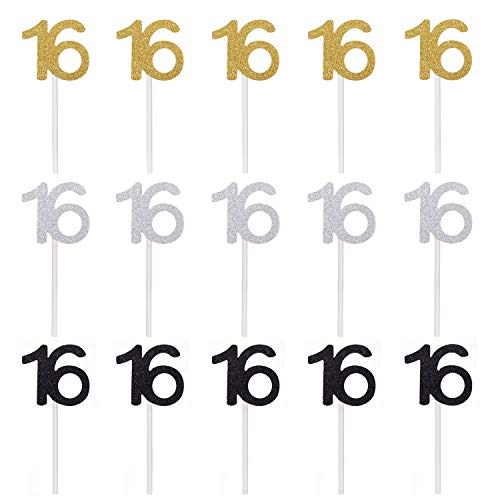 Qibote 36 Pieces Glitter Number 16 Cupcake Toppers for 16th Birthday Cupcake Decoration 16 Birthday Party Supplies