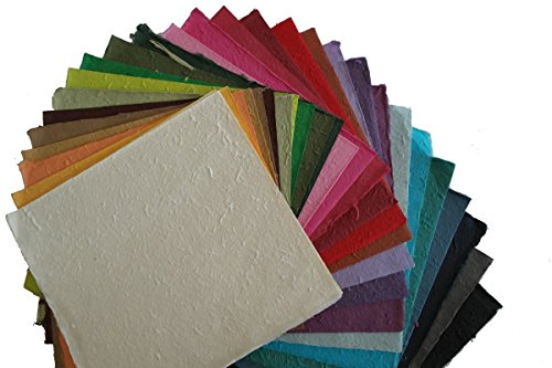 27 Pcs 10x10 Inches Thick Mulberry Paper DIY Craft Scrapbook Wedding Mixed Artificial LOT Thick Handmade Tear Bears Paper Piecing Scrapbook Wedding White and Other Color, Products From Thailand.