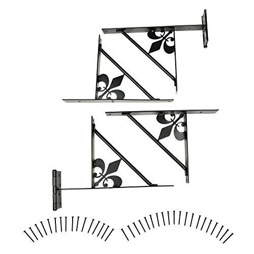 Gate Bracket Kit, 4 Bracket, Fleur-de-Lis Design Easy Gate, for Gate Repair and New Decorative Gates